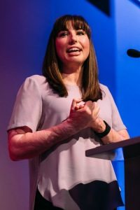 Catrin Pugh sharing her incredible story at a speaking event