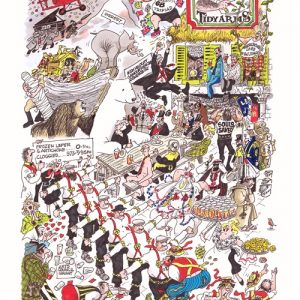 The Tidy Arms - A limited Edition Print of Bill Tidy's famous characters having a knees up in colour